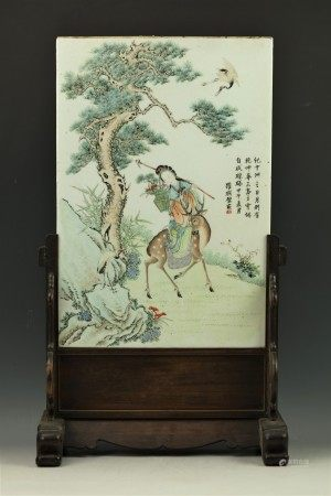 Luo Lianbi Porcelain Plaque Lady Riding Deer & Poem with stand