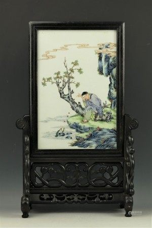 A Chinese Porcelain Plaque W Stand Liuhai  Tossing Coins to Toad