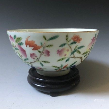 A chinese famille rose flower bowl guanxiu mark