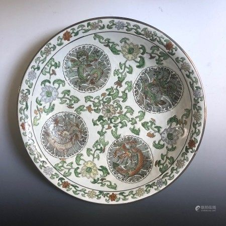 A Chinese Porcelain Plate with Intricate Dragon Paintings Marked Tongzhi