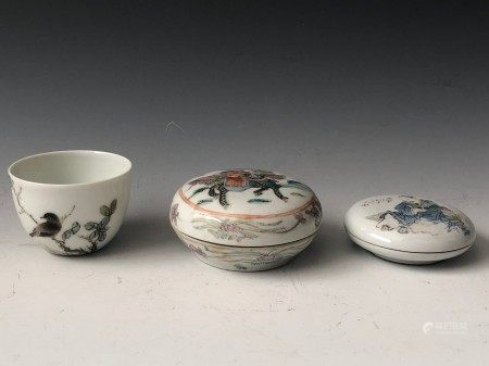 Group of Porcelain Ware Including a Cup and Two Lidded Trinket Boxes, Two are Marked