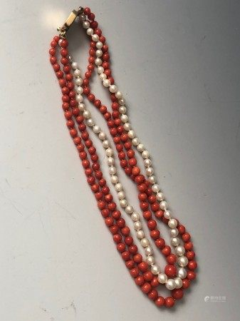 A Knotted Coral and Pearl Beads Necklace