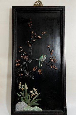 Fine Chinese Treasures Floral and Bird Panel Inlaid Jade Lapis Malachite
