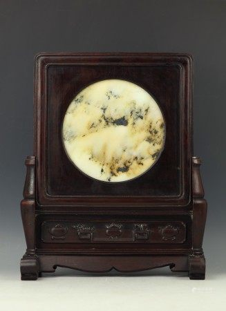 A Chinese Marble Stone Table Screen on Wood Stand