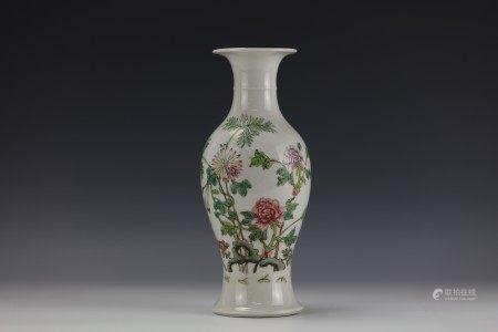 A Chinese Floral Famille Rose Porcelain Vase