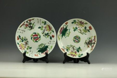 Two Chinese Floral Famille Rose Porcelain Plates with Mark