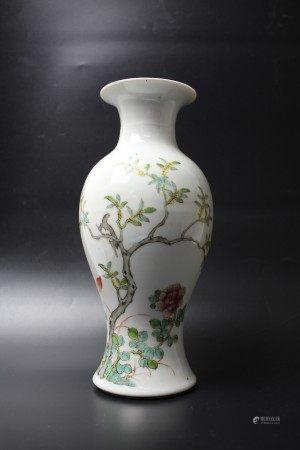 A Chinese Floral Bird  Famille Rose Porcelain Vase