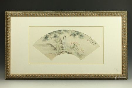 A Chinese Paiting Fan Attributed to Hexiangning