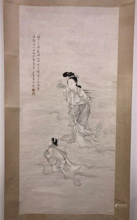 A Chinese Painting of Fairies Offering Birthday Longevity by Pu Xin Ru