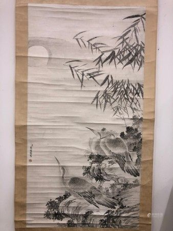 A Chinese Painting of Birds and Bamboos by Jiang Ting Xi