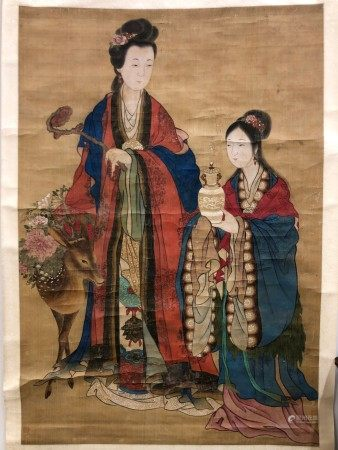 A Chinese Painting of Fairies Offering Bithday Longevity