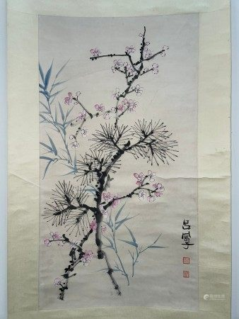 A Japanese Paint of Cherry Blossom on Scroll