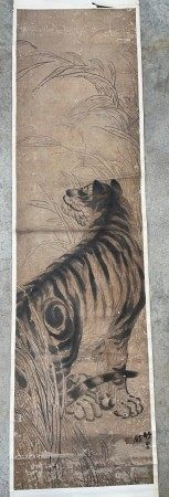 A Japanese Painting of a Tiger on Scroll