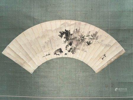 A Japanese Ink of Landscape on Fan