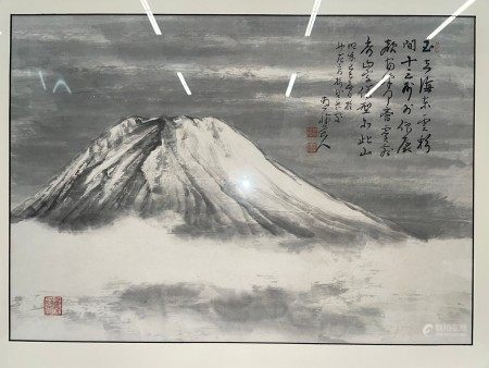 A Framed Japanese Painting of Fuji Mountain