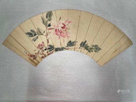 An Asian Painting of Flower on Fan