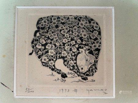 An Original Etched Zodic Ox by Akimo Yamao 50/200 1973