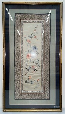 A Framed Chinese Embroidery of Birds and Floral