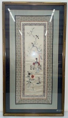 A Framed Chinese Embroidery of Lady in the Garden