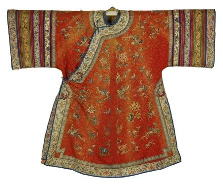 A Chinese Red Imperial Robe with Phoenix Embroidery