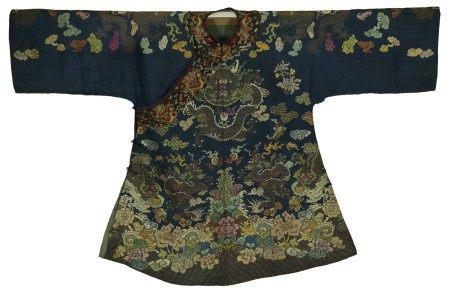 A Chinese Blue Imperial Robe with Dragon and Cloud Embroidery
