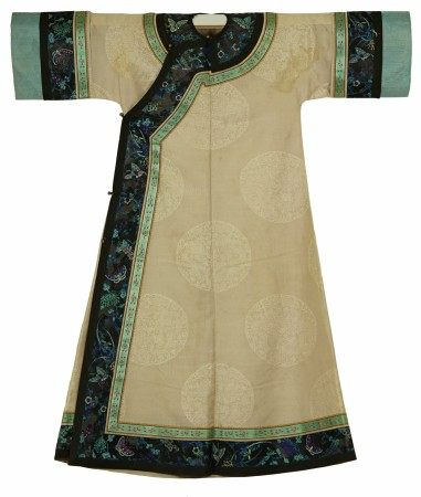 A Chinese Imperial Woman's Cream White Dress with Embroidered Black Collar