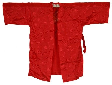 A Chinese Red Kung Fu Shirt with Yellow Dragon Embroidery