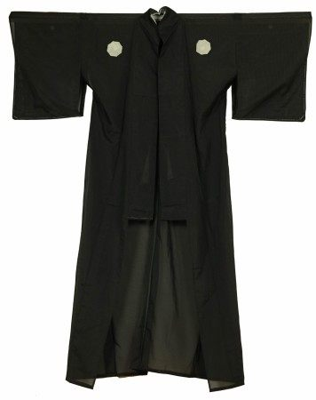 A Japanese Black Long Robe with White Patches