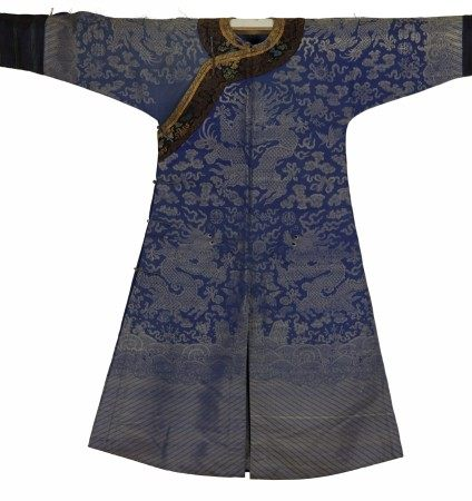 A Chinese Blue Imperial Robe with Dragon and Long, Striped Sleeves