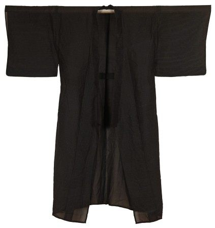 A Japanese Black Long Robe Decorated with Yellow Threads
