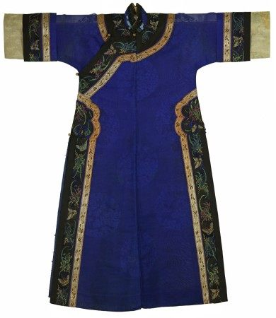 A Chinese Woman's Indigo Blue Dress with Embroidered Black Collar