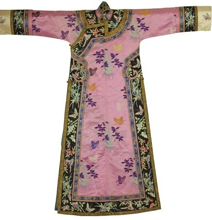 A Chinese Woman's Pink Robe Dress with Butterfly Embroidery