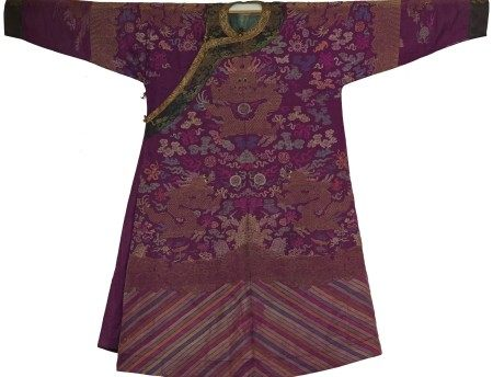 A Chinese Imperial Purple-Maroon Robe with Dragon Embroidery