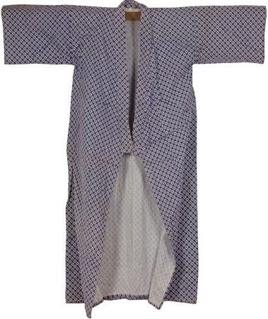 A Japanese Blue and White Robe with Gridded Pattern