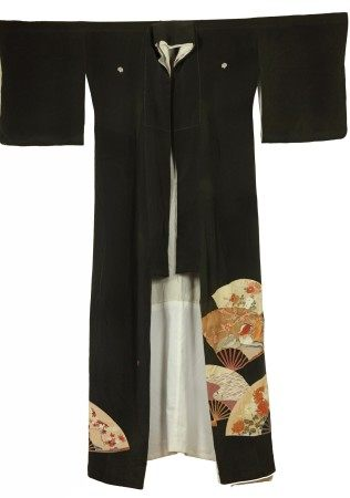 A Japanese Ceremonial Robe with Painting of Fans and Bird Art