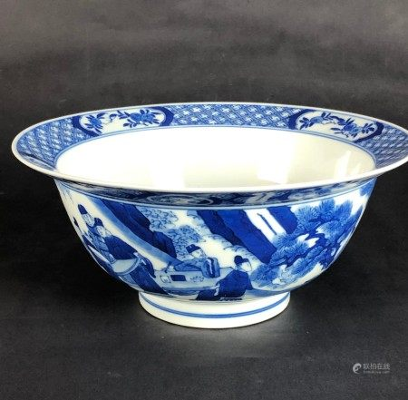 A Chinese Blue and White Figural Bowl