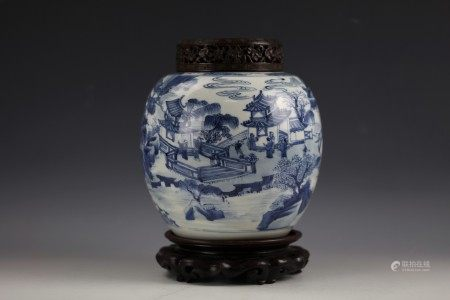 A Fine Blue and White Porcelain Jar with Carved Hardwood Cover and Stand