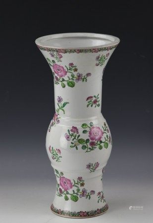 A Chinese  Famille Rose Floral Gu Vase with Hua Rong Tang Mark