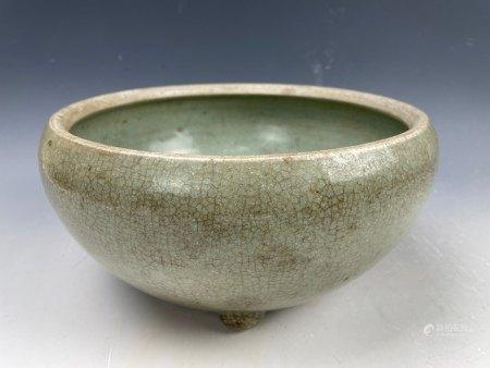 A Large Tripod Chinese Celadon Porcelain Brush Pot