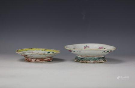 Two Chinese Famille Rose Flower Porcelain Offering Bowls