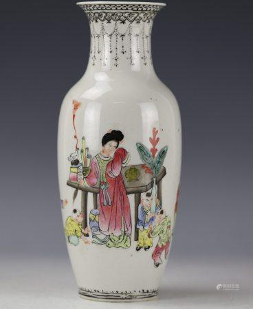 A Chinese Famille Rose Figure-Storied Porcelain Vase Qianlong