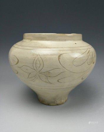 A Cizhou White Glazed High Relief Floral Vase