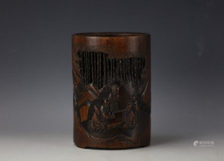 A Chinese Carved Storied Bamboo Brushpot Bitong