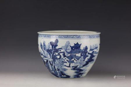 A Chinese Blue and White Porcelain Landscape Tank Pot