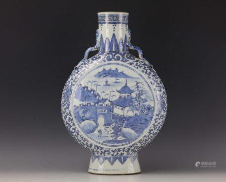 A Chinese Blue and White Landscape Moonflask Vase