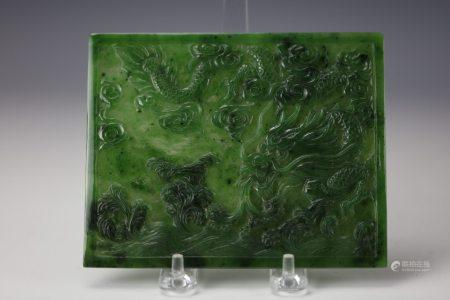 A Chinese Carved Hetian Green Jade DRAGON Plaque