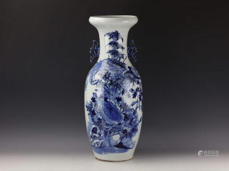 A Large Chinese Blue and White Phoenix and Floral Vase
