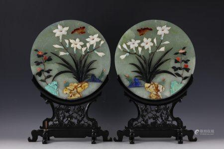 A Pair of Chinese Jade Table Screens on Wooden Stands