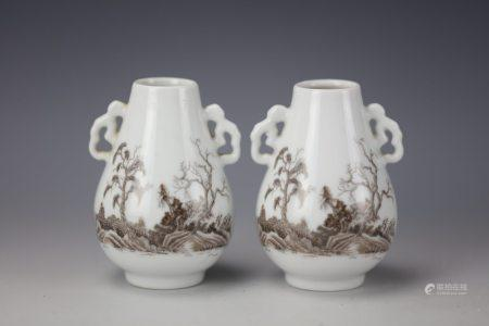 A Pair of Chinese Ink and White Glazed Porcelain Vases