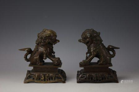 A Pair of Chinese Bronze Lions